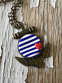 Náhrdelníky - námornícky náhrdelník-2 varianty (kotva s mini ❤️) - 9449945_