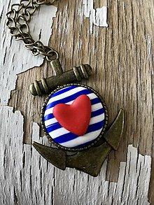 Náhrdelníky - námornícky náhrdelník-2 varianty (kotva s vačším ❤️) - 9449951_