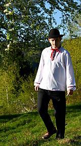 Košele - Folklórna pánska košeľa - 9453023_
