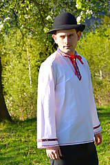 Košele - Folklórna pánska košeľa - 9453035_