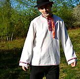 Košele - Folklórna pánska košeľa - 9453319_