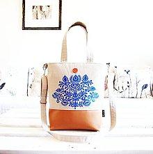 Veľké tašky - Veľká taška z ľanovej folk kolekcie - 9451430_