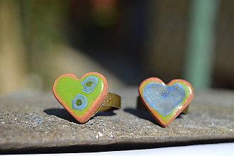 Prstene - Prstienok srdiečko zelený, modrý :o)). - 9451816_