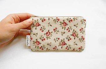 Peňaženky - Peňaženka/taštička - Ruže na béžovej - 9453724_