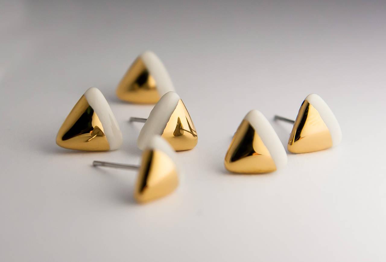 porcelánové náušnice   zlato, chirurgická oceľ