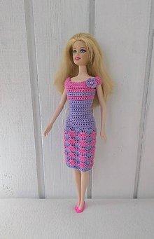 Hračky - Fialovoružové háčkované šaty pre Barbie - 9451715_