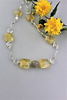 Náhrdelníky - citrín krištál náhrdelník luxusný, dlhý cca 60cm - 9453737_