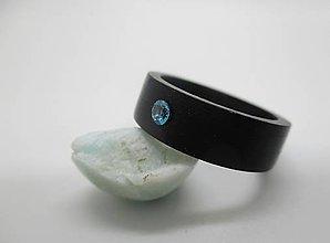 Prstene - Ebenový prsteň so zirkónom - 9451378_