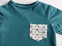 Detské oblečenie - Outlet - tičko petrolejová modrá - 9453775_
