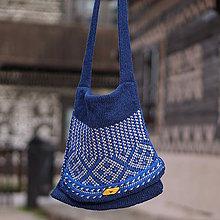 Kabelky - Kabelka pletená vlna (Modrá) - 9453416_