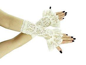 Rukavice - Svadobné rukavice béžové čipkové pre nevestu 01G - 9455003_