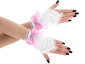 Rukavice - Dámské svadobné biele rukavice, spoločenské rukavičky 07B - 9455023_
