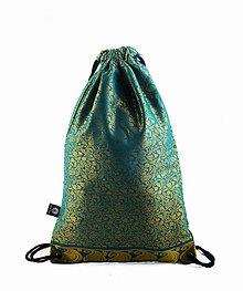 Batohy - Brokátový vzorovaný zelený batoh/ruksak VINITHA 15 - 9453443_