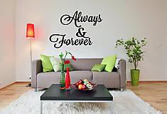 Dekorácie - Drevený nápis na stenu Always & Forever  - 9452569_