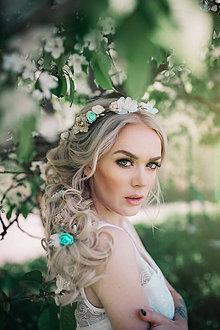 Ozdoby do vlasov - Svadobný set - mentolová, zlatá, biela - 9452612_