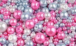 - Voskované perličky 50 g (biela-modrá holubia-ružová) - 9452587_