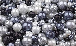- Voskované perličky 50 g (biela-sivá-čierna) - 9452599_