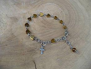 Náramky - ruženec na ruku z Hematitových srdiečok-oceľ - 9454087_
