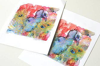 Grafika - Páv a pozlátko, akvarel výtlačok (print) - 9453795_
