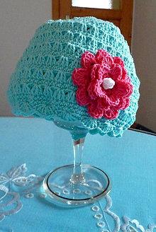 Detské čiapky - Modra s ruzou - 9453913_