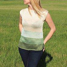 Topy - Zeleno - biely letný top - 9457172_