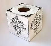 Krabica na vreckovky-ornamentové srdce-kocka