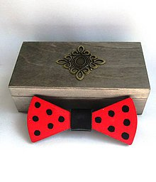 Doplnky - Drevený motýlik v krabičke - retro - 9457214_
