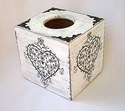 Krabičky - Krabica na vreckovky-ornamentové srdce-kocka - 9458609_