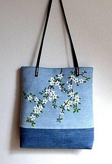 Kabelky - Riflová kabelka-Rozkvitnuté halúzky - 9457257_