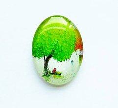 Komponenty - Kabošon - 30x40 mm - sklenený - strom, tree, príroda, ľudia, lístie - 9457446_