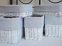 - Košíky - Biele s čiernou bodkou (16,0x36,0x10,0) - 9455527_