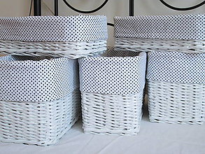 Košíky - Košíky - Biele s čiernou bodkou - 9455527_