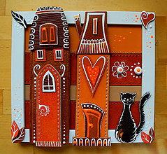 Obrazy - Domčeky s mačkou - 9455254_