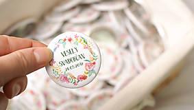 Darčeky pre svadobčanov - Svadobný odznak, svadobná brošňa, button - 9455963_