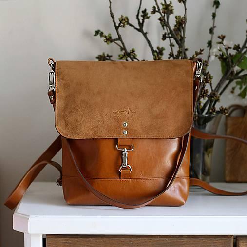 Batohy - Kožený batoh Lara (koňakový-hnedý) - 9456424_
