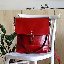 Batohy - Kožený batoh Lara (červený) - 9456655_