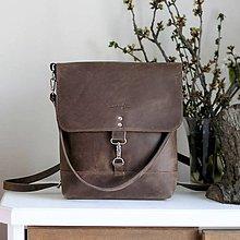 Batohy - Kožený batoh Lara (crazy tmavohnedý) - 9456697_