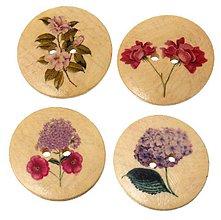 Galantéria - Drevený vintage gombík kvet 3 cm - 9456206_