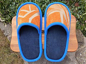 Obuv - Veľké rifľové papuče s oranžovým vrchom - 9457953_