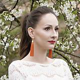 Náušnice - Strapcové náušnice - Oranžová, tmavá - 9457584_