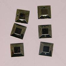 Iný materiál - Našívacie kamienky štvorcové farba kovová 12mmx12mm - 9458879_