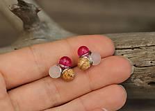 - Náušnice napichovačky ruženín, jaspis, jadeit - 9456591_