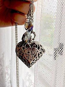 Sady šperkov - Heart Pocket Watches Necklace, Earrings & Swarovski Pear / Otváracie hodinky srdce, náušnice, swarovski /0272 - 9459801_