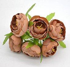 Iný materiál - 40. Čajovníkové kvety, textilné, väčšie (4cm) - 1 ks (40.9 Hnedé) - 9459207_