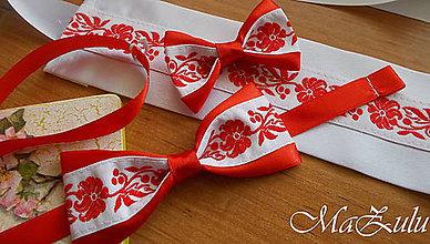 Doplnky - Folklórny motýlik v červenom - 9462247_