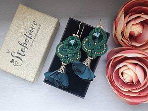 Náušnice - Štebotavé lupene (smaragdové) - 9462227_
