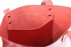 Veľké tašky - Kožená kabelka Sue (big bag červená) - 9459483_