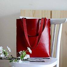 Veľké tašky - Kožená kabelka Sue (big bag červená) - 9459481_