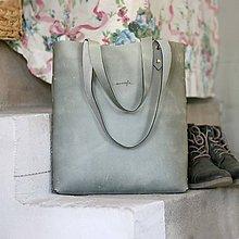 Veľké tašky - Kožená kabelka Sue (big bag šedá) - 9459498_