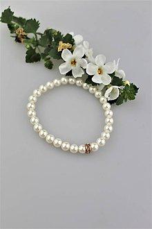 """Náramky - perly swarovski náramok """"biely kvet"""" - 9459395_"""